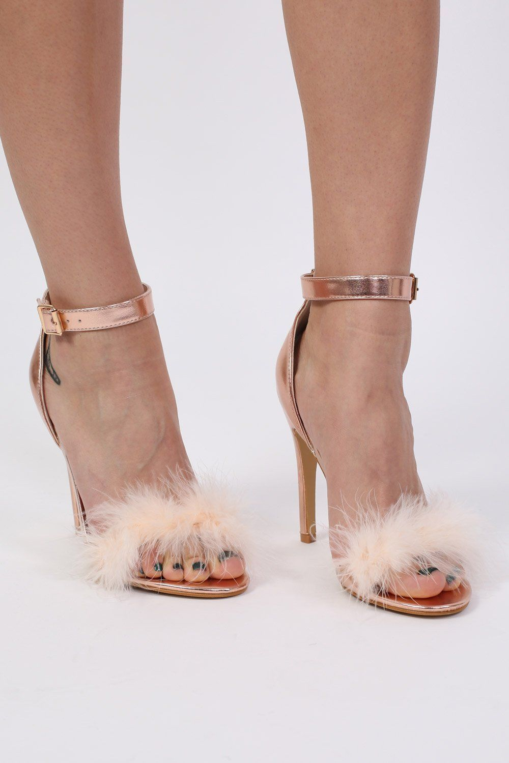 Metallic Faux Feather Strappy High Heel Sandals in Rose Gold 0