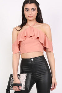 Tie Halter Neck Frill Crop Top in Dusty Pink 0