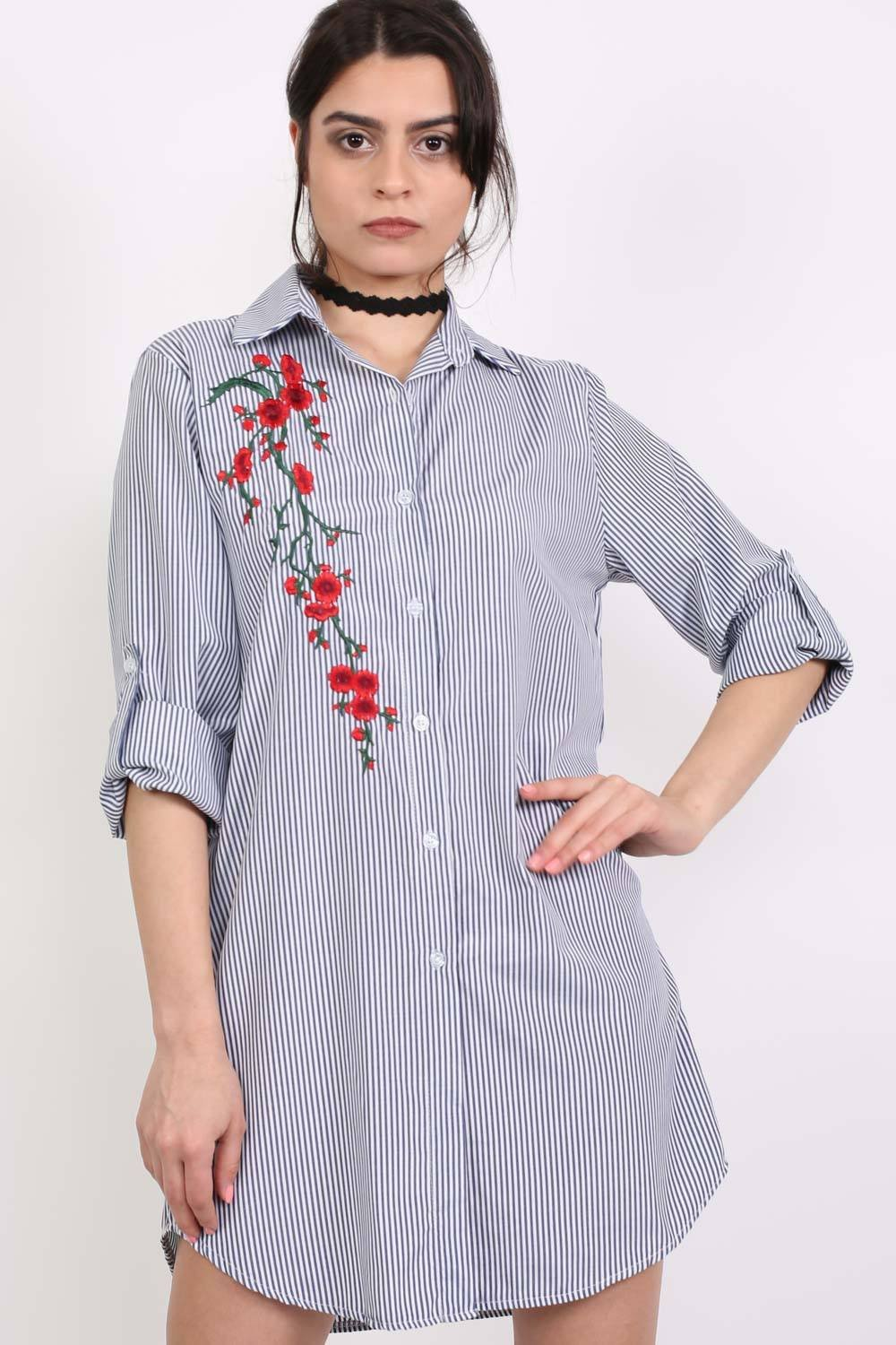 Striped Floral Embroidered Shirt Dress in Blue 0