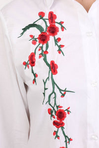 Floral Embroidered Shirt Dress in White 1