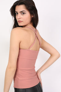 Ribbed Bandage Strappy Top in Rose Pink 1
