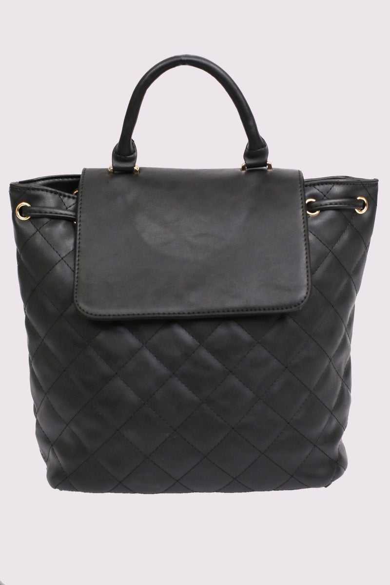 Quilted Detail Backpack in Black 3