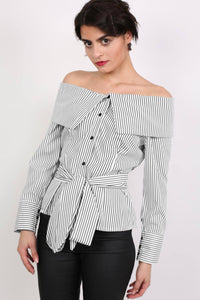 Striped Bardot Long Sleeve Belted Blouse in Black 0