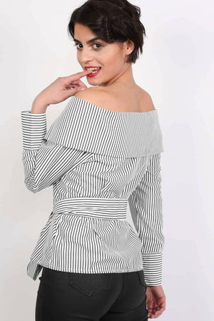 Striped Bardot Long Sleeve Belted Blouse in Black 1
