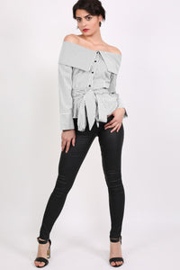 Striped Bardot Long Sleeve Belted Blouse in Black 2