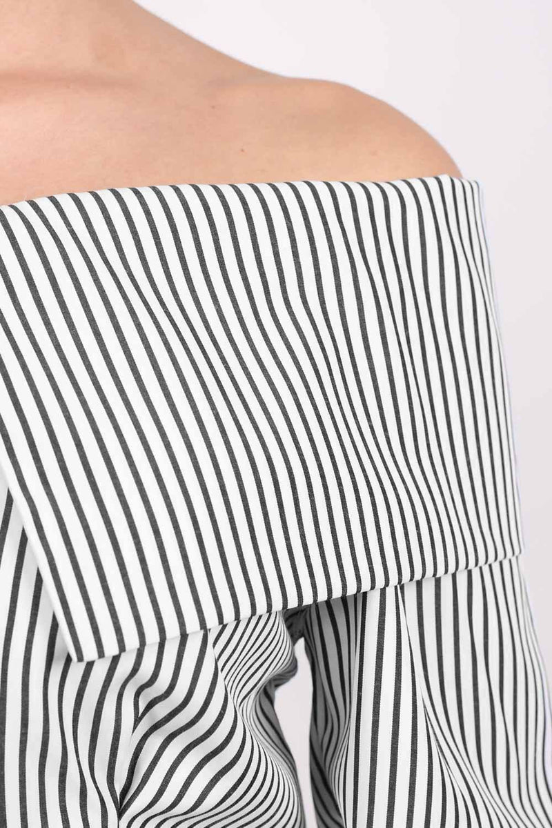 Striped Bardot Long Sleeve Belted Blouse in Black 3