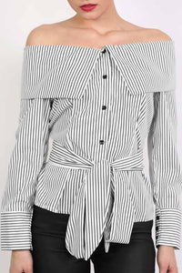 Striped Bardot Long Sleeve Belted Blouse in Black 4