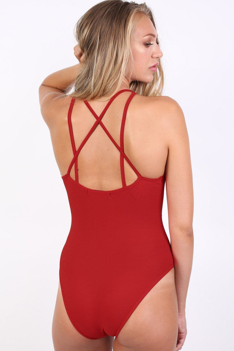 Ladder Caged Front Bodysuit in Red 3