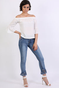 Frill Sleeve Floaty Bardot Top in Ivory White 3