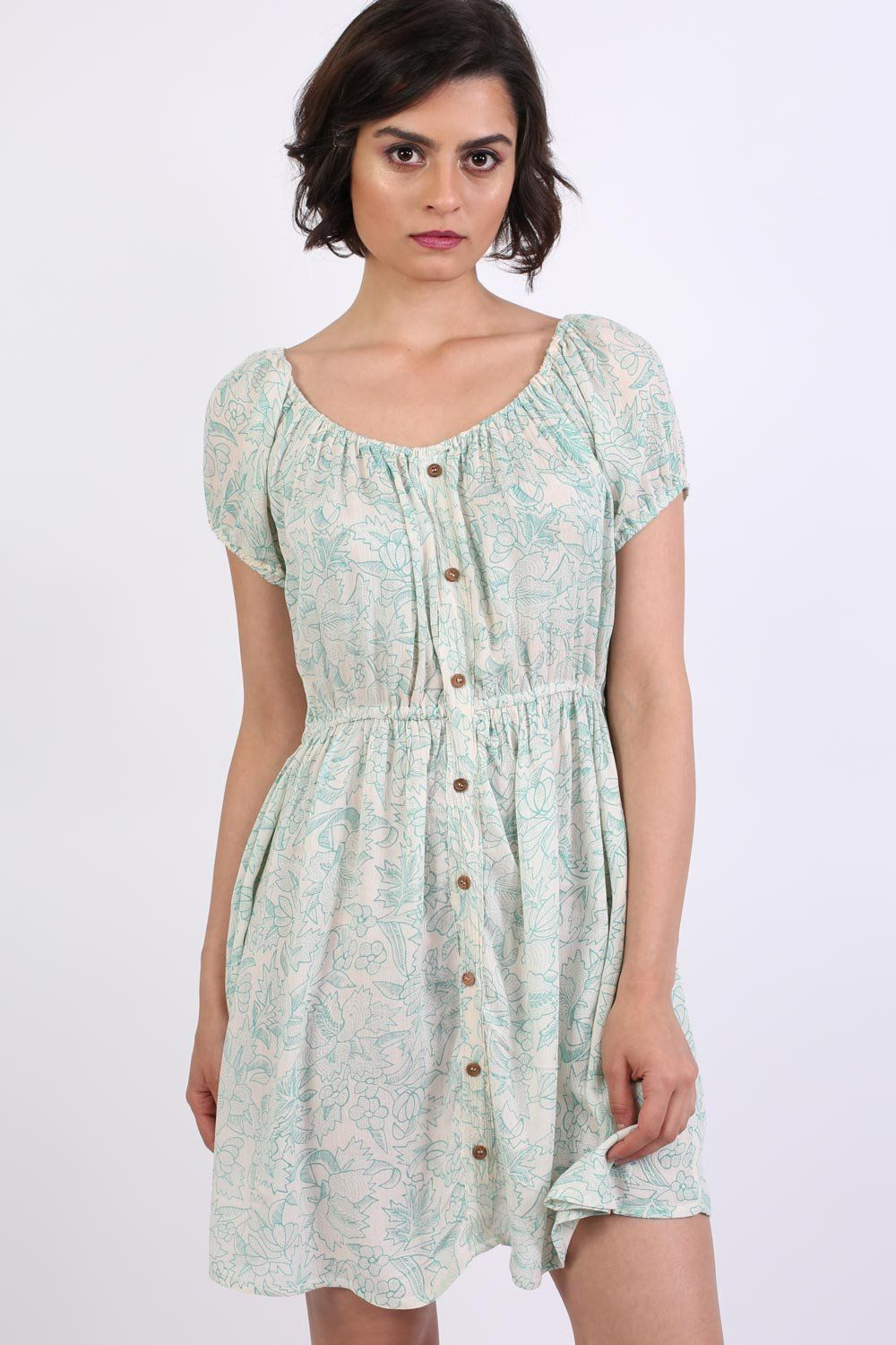 Scoop Neck Smock Printed Skater Mini Dress in Jade Green 0