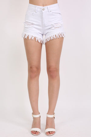 Frayed Hem Shredded Denim Shorts in White 0