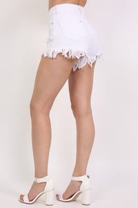 Frayed Hem Shredded Denim Shorts in White 2