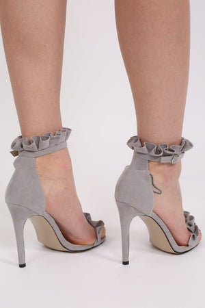 Frill Detail Strappy High Heel Sandals in Light Grey 2
