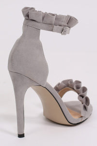 Frill Detail Strappy High Heel Sandals in Light Grey 5