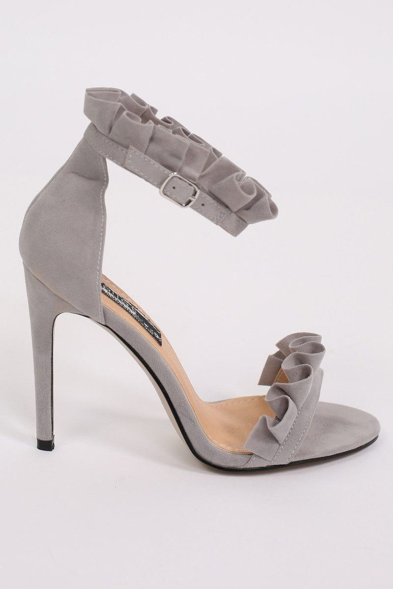 Frill Detail Strappy High Heel Sandals in Light Grey 4
