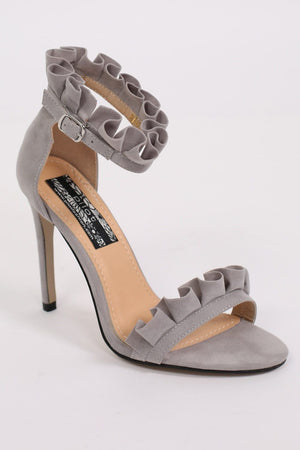 Frill Detail Strappy High Heel Sandals in Light Grey 3