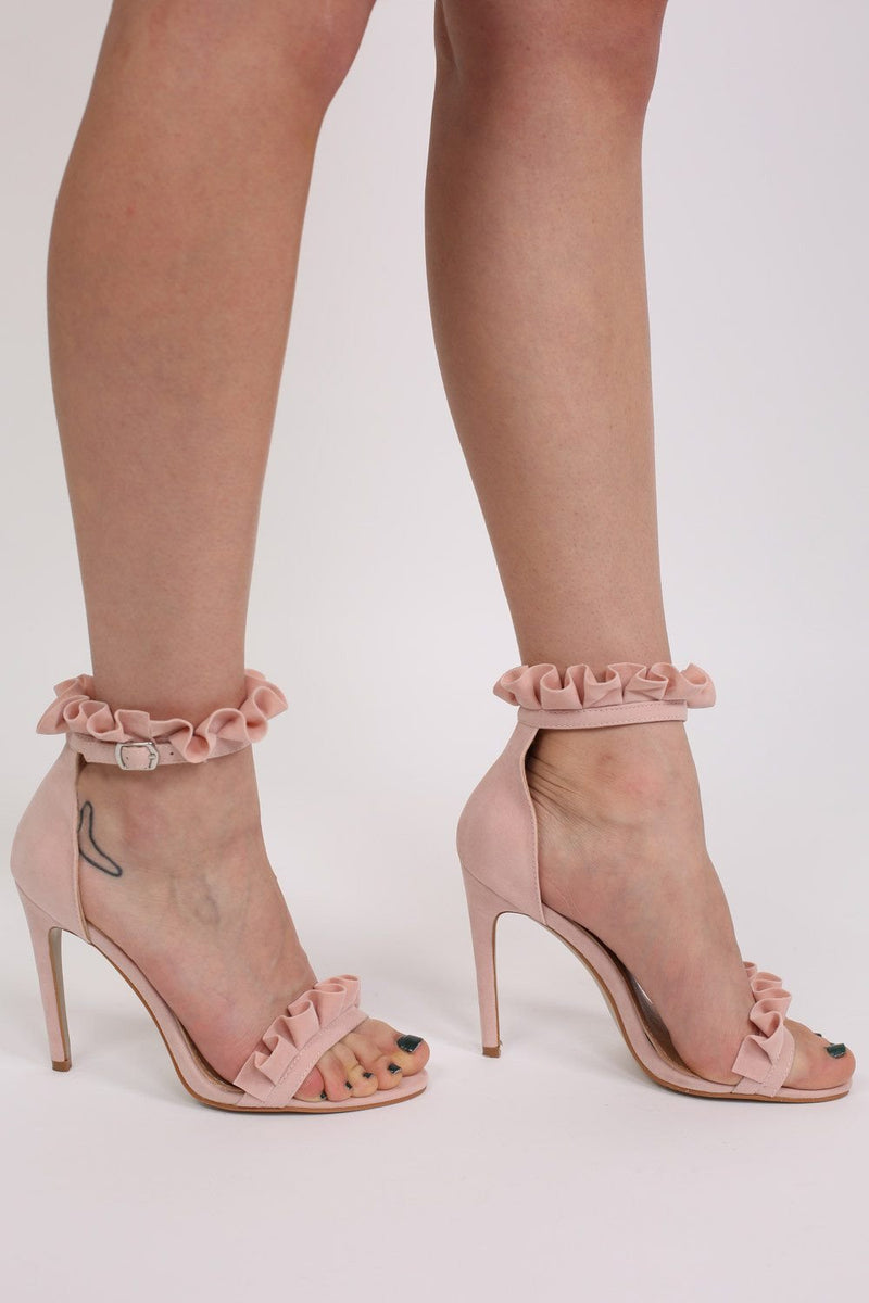 Frill Detail Strappy High Heel Sandals in Pale Pink 0