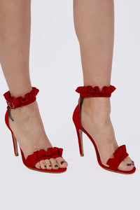 Frill Detail Strappy High Heel Sandals in Red 0