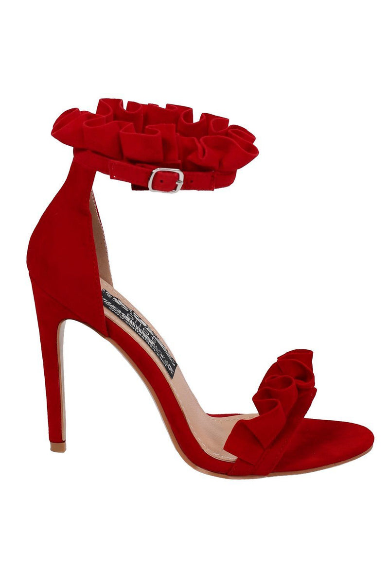 Frill Detail Strappy High Heel Sandals in Red 4
