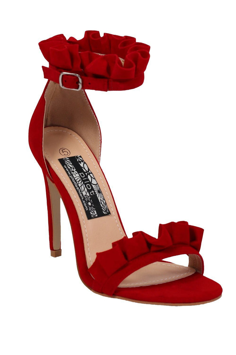Frill Detail Strappy High Heel Sandals in Red 3