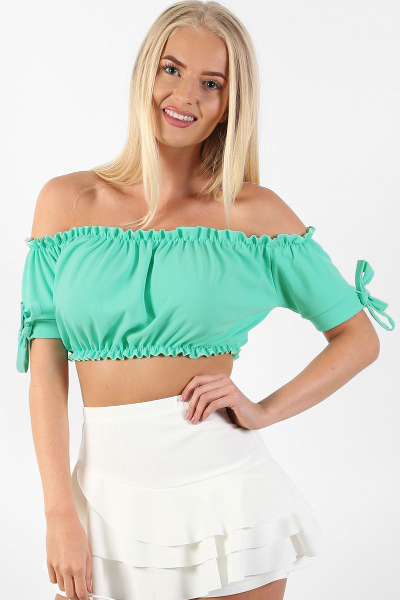 Ruched Bardot Gypsy Crop Top in Aqua Green 1