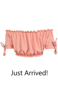 Ruched Bardot Gypsy Crop Top in Peach 7