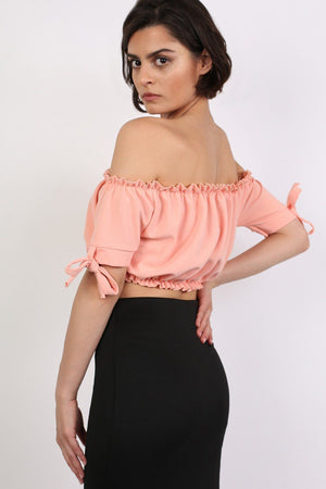 Ruched Bardot Gypsy Crop Top in Peach 1