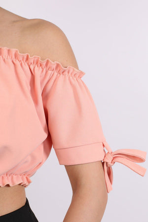 Ruched Bardot Gypsy Crop Top in Peach 3