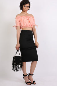 Ruched Bardot Gypsy Crop Top in Peach 4