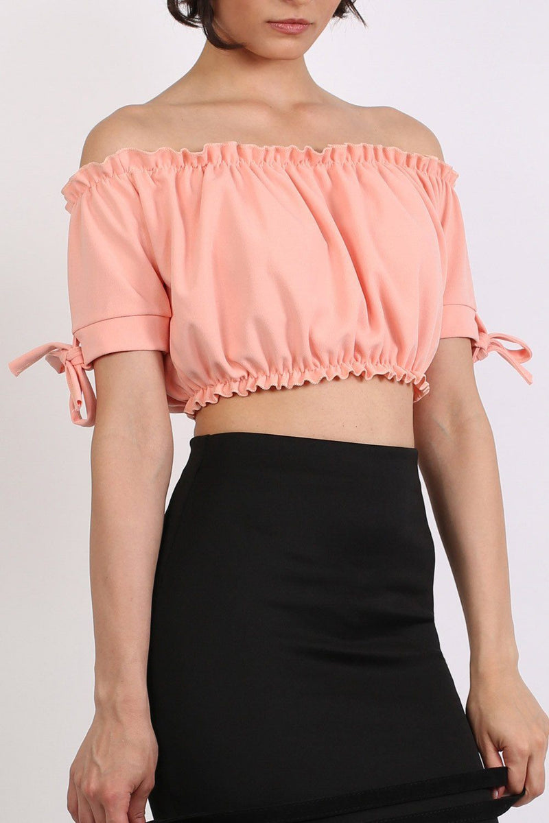 Ruched Bardot Gypsy Crop Top in Peach 5