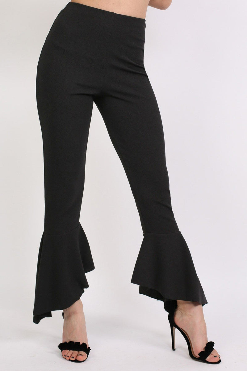 Frill Hem Trousers in Black 0