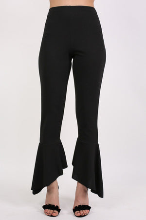 Frill Hem Trousers in Black 1
