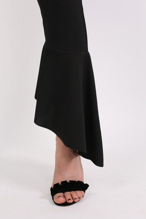 Frill Hem Trousers in Black 2