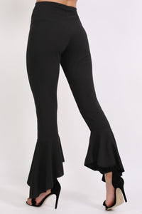 Frill Hem Trousers in Black 3