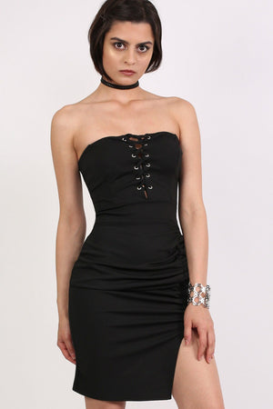 Lace Up Front Ruched Bandeau Fitted Mini Dress in Black 0