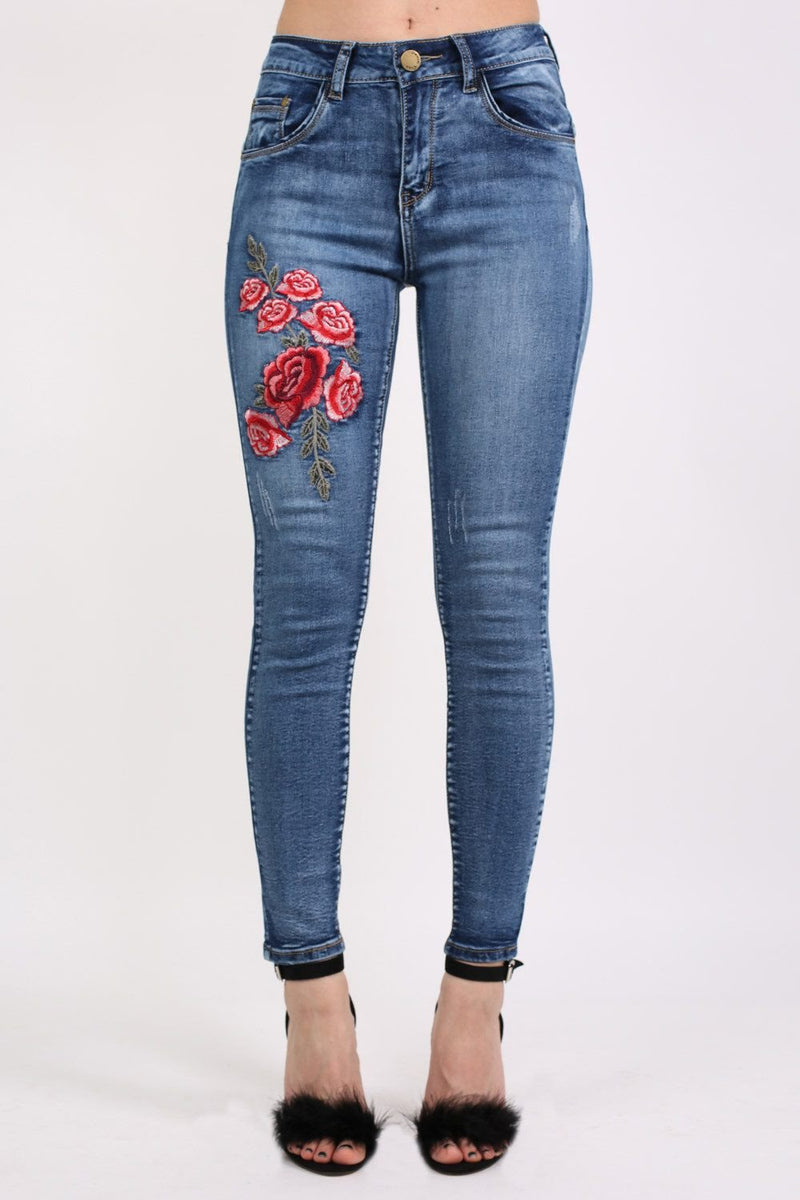 Floral Embroidered Skinny Distressed Denim Jeans 0