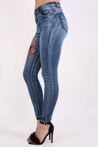 Floral Embroidered Skinny Distressed Denim Jeans 2