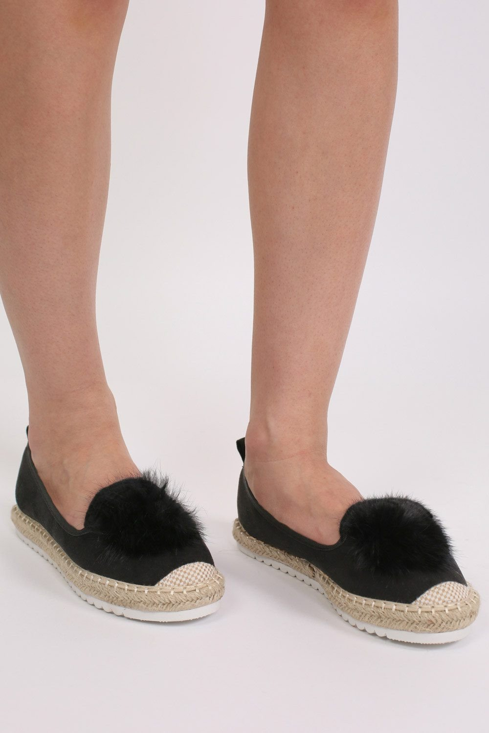 Faux Fur Pom Pom Detail Faux Suede Espadrilles in Black 0
