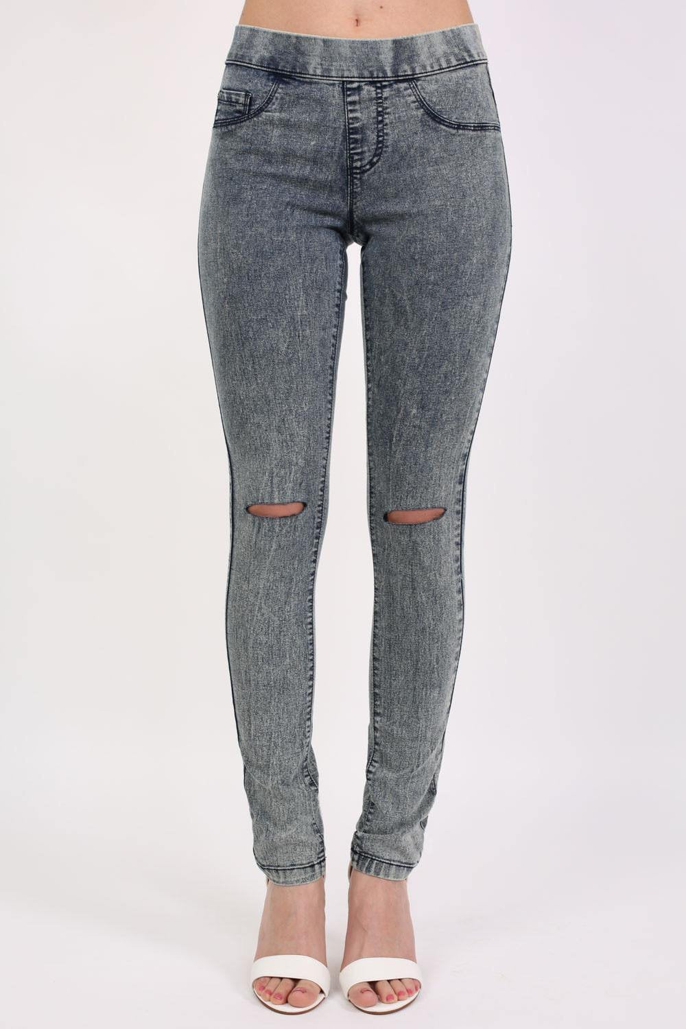 Ripped Knee Acid Wash Jeggings in Denim 0
