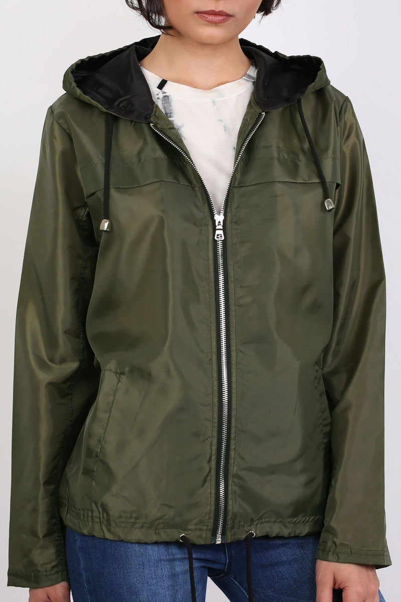 Lightweight Hooded Festival Jacket in Khaki Green 5