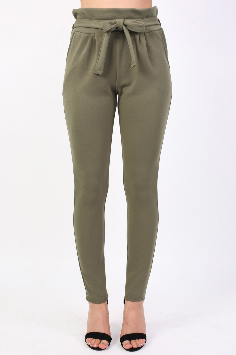 Tie Paper Bag Waist Trousers in Khaki Green 0