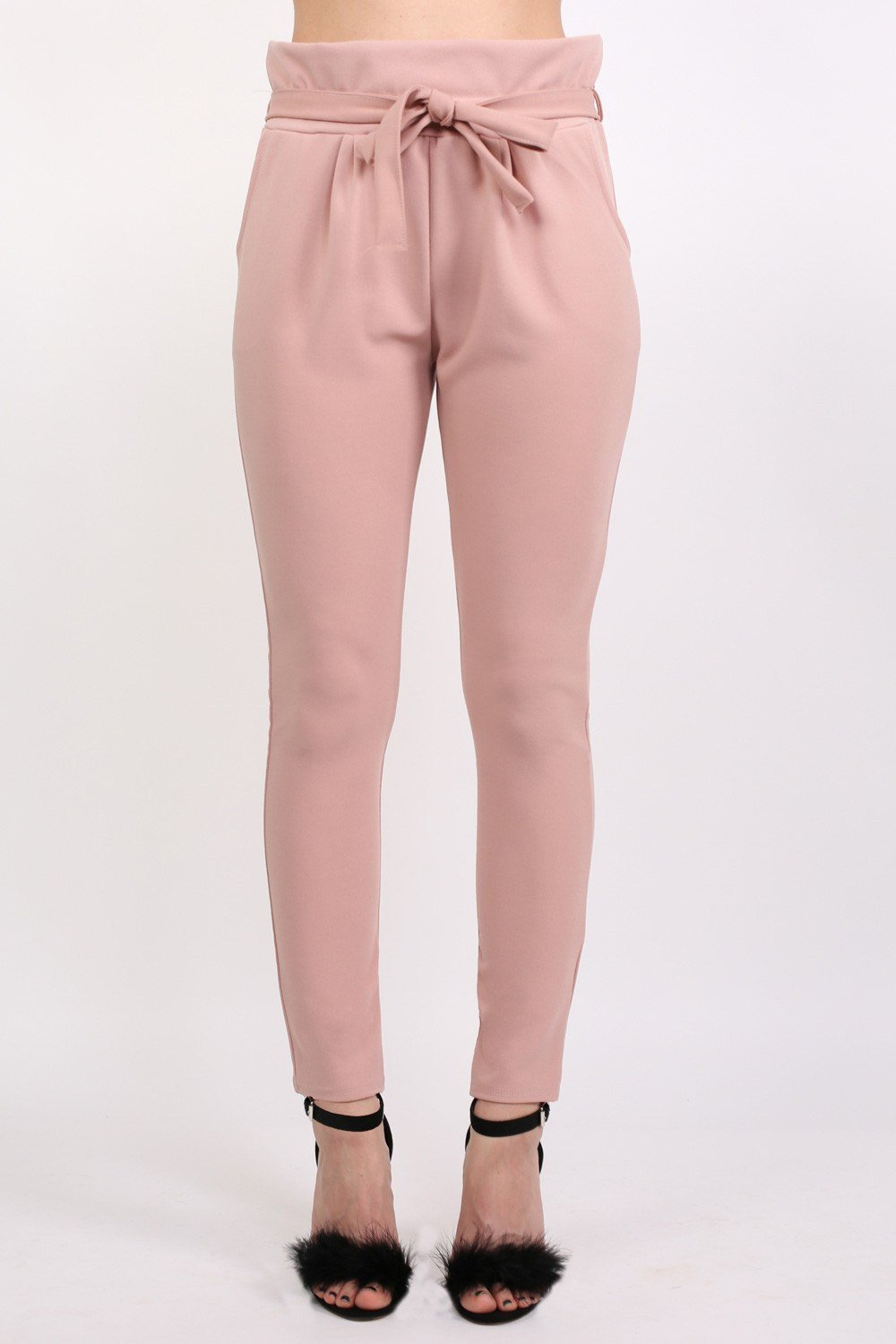 Tie Paper Bag Waist Trousers in Rose Pink 0
