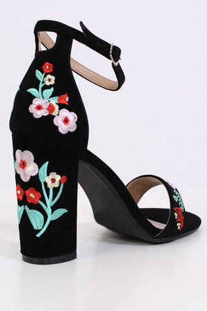 Floral Embroidered Block High Heel Sandals in Black 5