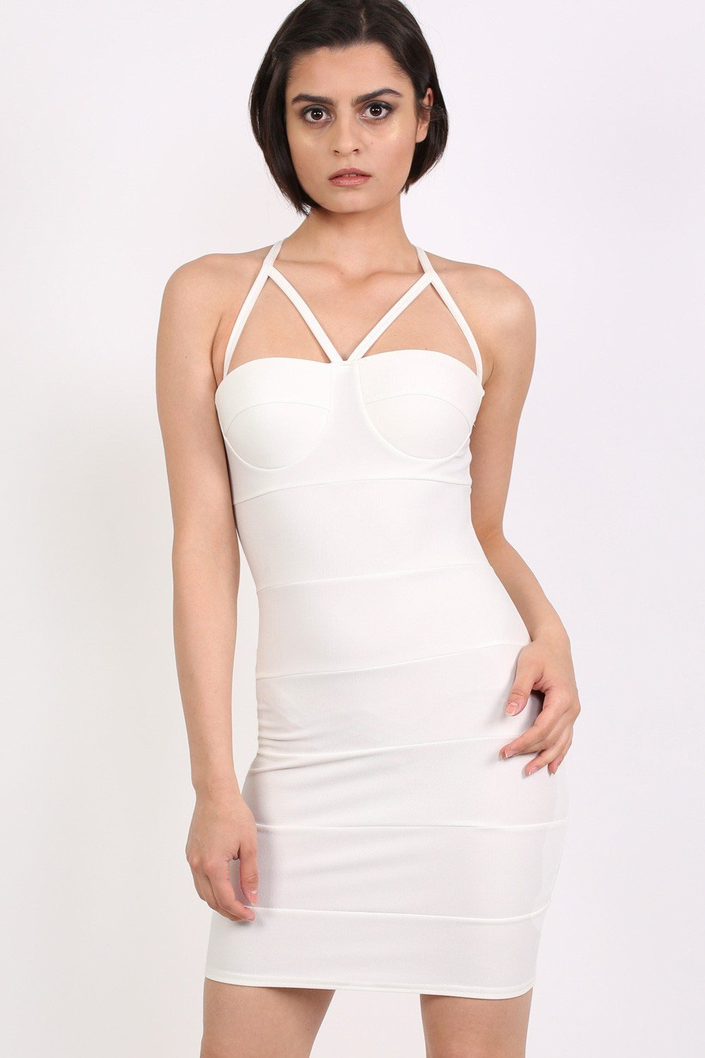 Strappy Ribbed Bandage Bodycon Mini Dress in Cream 0