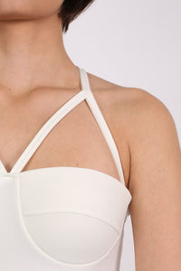 Strappy Ribbed Bandage Bodycon Mini Dress in Cream 1