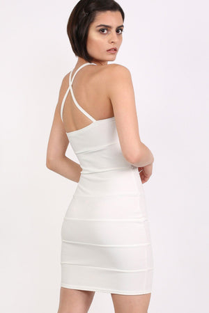 Strappy Ribbed Bandage Bodycon Mini Dress in Cream 2