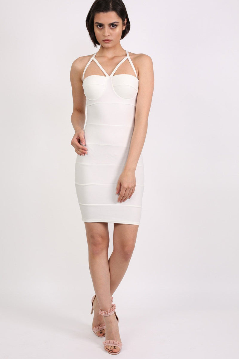 Strappy Ribbed Bandage Bodycon Mini Dress in Cream 3