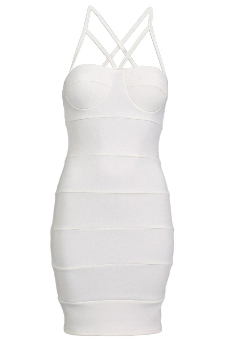 Strappy Ribbed Bandage Bodycon Mini Dress in Cream 4