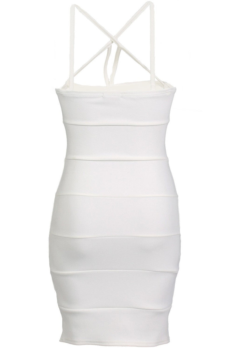 Strappy Ribbed Bandage Bodycon Mini Dress in Cream 5