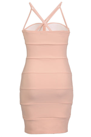 Strappy Ribbed Bandage Bodycon Mini Dress in Nude 5